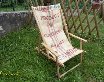 Chilean vintage adult Lounger-chair restored with vintage France vintagefr burlap bag