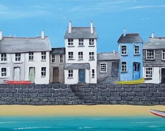 Harbourside - Framed Original Acrylic Painting - Cornish Art