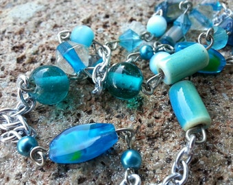 Long Turquoise Chain Necklace, Pull-over necklace