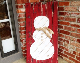 Rustic Snowman Decor from Reclaimed Wood (Scarf NOT Included)