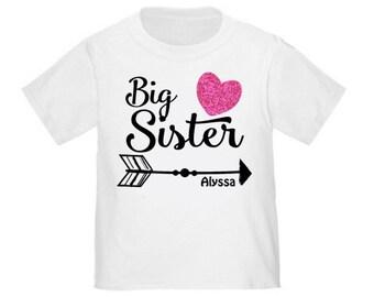 Big Sister Arrow Faux Pink Glitter T Shirt Big Sister tshirt