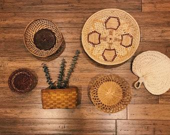 Vintage Wicker Basket Set of 6 Wall Basket Collection