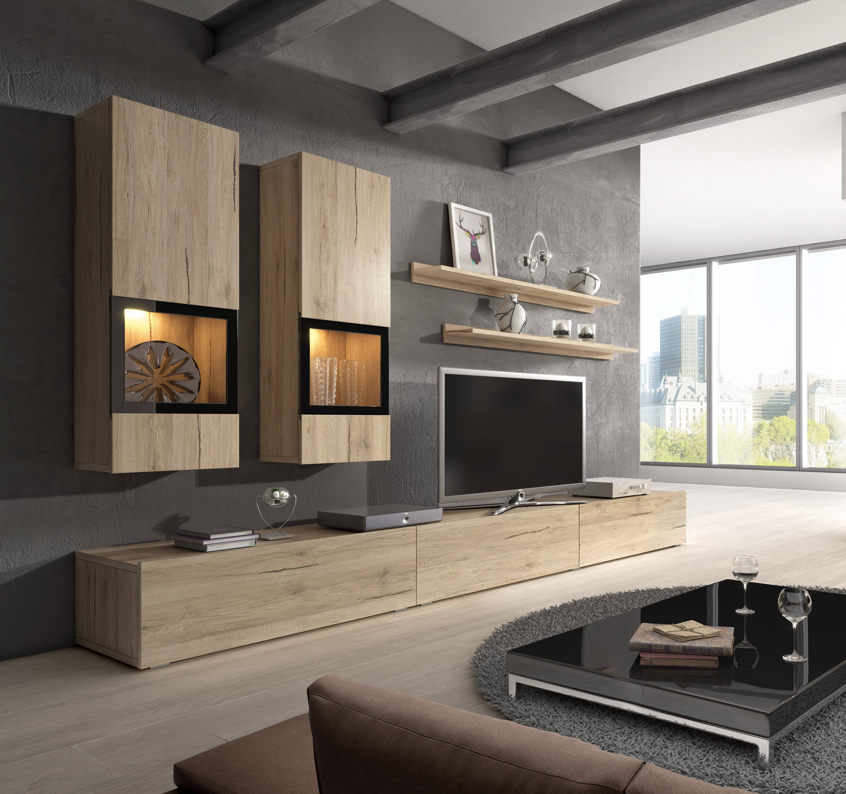 Baros Wall Unit Modern Entertainment Center With Led Lights # Muebles Full House Colombia