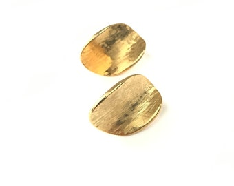 Vintage Minimalist Gold Plated Brushed Curve Earrings