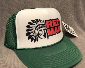 Red Man Chewing Tobacco Trucker Hat Vintage  Snapback Cap Green Indian 2255