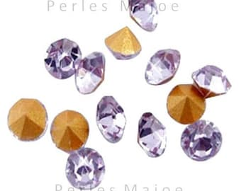 100 rhinestone purple glass cut to size 2 mm tip