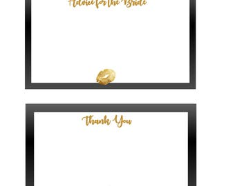 Kiss the Miss Bridal Shower Thank You & Advice Cards - Black and Gold