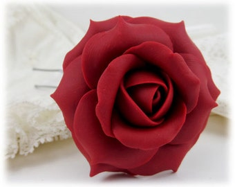 Red Rose Hair Clip Pin - Red Rose Hair Flower, Red Flower Hair Pin, Red Wedding Hair Accessories