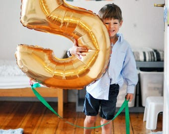 40' Number Five Balloon- Number 5 Balloon- Gold Number 5 Balloon-Giant Number Five Balloon