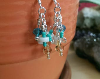Hand-crafted Glass Czech Bead Shell Earrings SS sterling silver