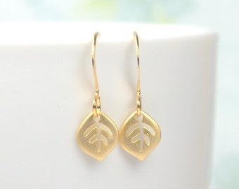 Tiny Gold Leaf Dangle Earrings, Gold Earrings, Small Drop Earrings, Small Leaf Gold Earrings #861