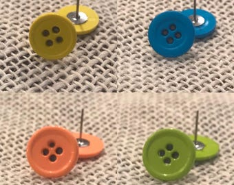Neon button earrings! 4 colors available!