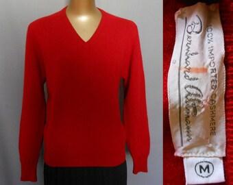 50s Bernhard Altmann Cashmere Sweater, Red Pullover V Neck Jumper, Size M to L, Medium to Large