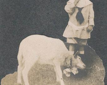 vintage photo 1910 Little Boy Blue Wearing Sailor suit w Pet Goat Wearing Bow