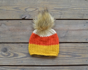 Candy Corn Hat,  Fall Hats, Fur Pom Pom Beanies, Toddler Hats for Girls, Gifts for Girls, Baby Hats for Girls, Children's Hats, Baby Beanie