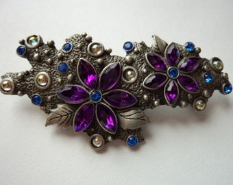 Vintage Signed JJ Silver pewter Stunning Wild Purple Flowers with Blue Rhinestones Brooch/Pin