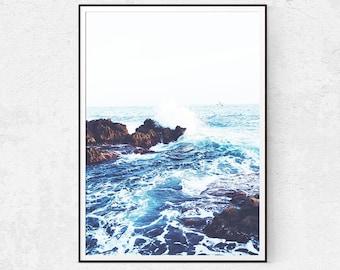 Sea Photography - Beach Prints - Nautical Decor - Ocean Poster - Scandinavian Decor - Minimalist Poster - Coastal Wall Decor - Download Home