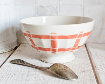 """Large Vintage French Café Au Lait Bowl Coral """"Torchon"""" Pattern 