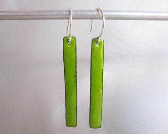 Long Skinny Lime Green Enamel Rectangle Earrings, Kiln-Fired Glass Enamel, Geometric Long Dangle Earrings, Custom Colors Available