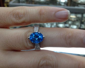 Blue Topaz Ring, London Blue Topaz and Diamond Accent Stones, Topaz Ring, Blue Topaz Ring, Topaz Ring