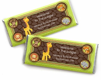 24 Safari Jungle Custom Candy Bar Wrappers - Personalized Baby Shower and Bithday Party Favors