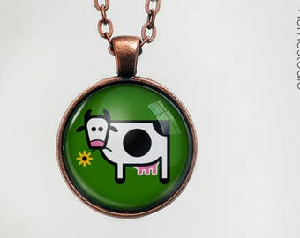 Cow  Glass Dome Pendant, Necklace  or Keychain Key Ring. Gift Present metal round art photo jewelry by HomeStudio