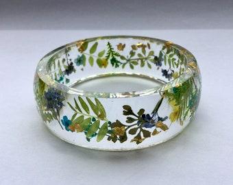 Forget me not bangle,gold bangle,flower bangle,blossom bracelet