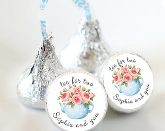 108 Bridal Shower Hershey Kiss® Stickers  - Tea for Two Kiss Labels - Candy Labels - Custom Labels - Bridal Shower Favors - Candy Stickers