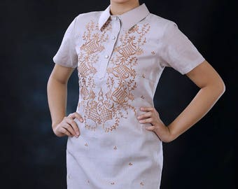 Modern FILIPINIANA Dress Linen BARONG TAGALOG Philippine National Costume - Mocha
