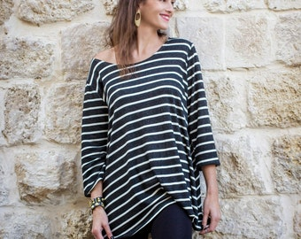 Black and White Striped Shirt With Long Sleeves, Oversized, Loose Fit, Tunic Top, Womens Top, Casual, Womens Clothes