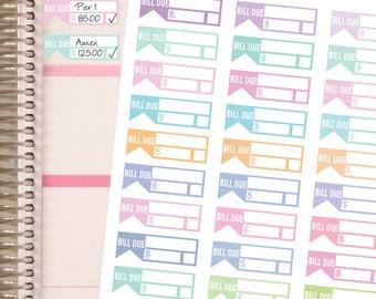 Planner Stickers Bill Due Stickers - Pastels