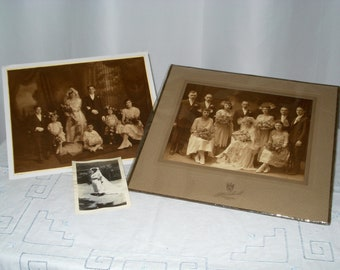 Three 1920s wedding photos. Two larger ones show wedding party. Amazing condition.