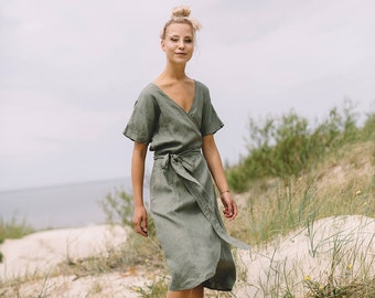 Maternity dress / Wrap linen dress / Oversized linen dress / Summer dress / Linen dress / Pine green linen dress / #31A MIMOSA DRESS