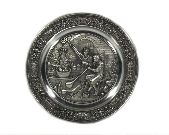 Vintage German Pewter Plate Depicting The Glass Blowers