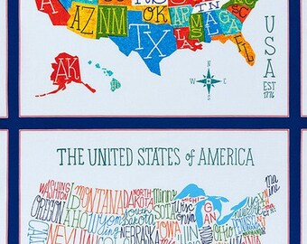 "Explore America Bright United States Map Panel By Robert Kaufman (24""x44"" Panel)"