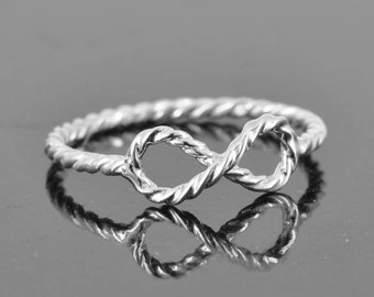infinity ring, sterling silver, twisted band, knot ring, best friend, promise ring, Bridesmaid gift, wedding gift, maid of honor gift