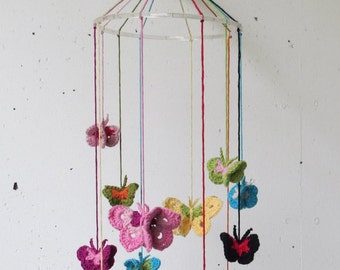 Baby mobile crochet butterflies. Colorful butterflies. Crib mobile butterflies.