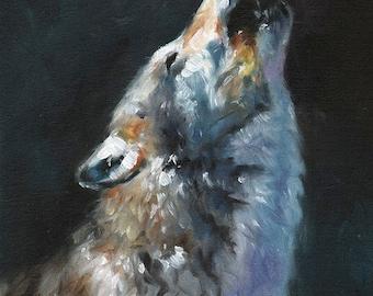 WOLF PRINT - wolf art print, wolf gifts, wolf painting, wolf oil painting, howling wolf, wolf artwork, wolf decor, wolf wall art