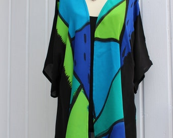 Hand painted silk jacket,Chiffon jacket,colorful,one size,washable,hand painted silk,wearable art,handmade,unique design,