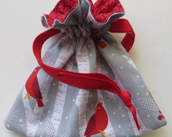 Alpine Holiday Cardinal Lined Drawstring Fabric Jewelry Gift Bag