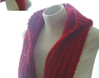 Hooded Scarf with Ribbed Brim Adult/Toddler PATTERN