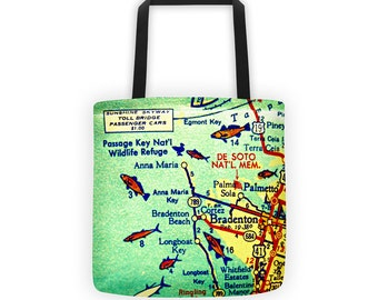 Anna Maria Island Map Tote Bag, Vacation gift ideas Anna Maria Key Vintage Florida Map Bradenton Beach Bag Florida Tote Florida Gifts Her