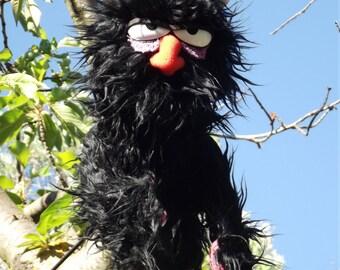 Lunatic black puppet,Enjoyable  puppet wooden rods