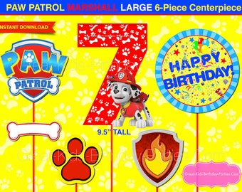 PAW PATROL Birthday CENTERPIECE - Number 7 Marshall - Paw Patrol Birthday - Paw Patrol Party Supplies - Photo Booth Props - Decorations - 7
