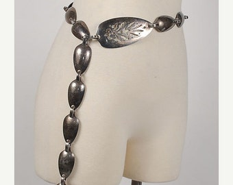 SALE Vintage 70s Silver Spoon Chain Link Belt Boho Arts and Crafts AMAZING