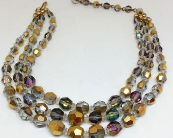 Vintage Beaded AB Necklace, Women's Costume Jewelry,  Aurora Borealis