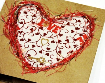 Heart Thread Art Painting Card, Original Wedding Paper-Stitched Textile Fiber Love Greeting, Valentines Day Blank Notecard itsyourcountry