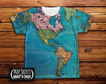 World Oceans Map T Shirt, All Over Print Design, Save the Oceans, Environmental T Shirt World Map Shirt, Geography T Shirt, Atlantic Pacific