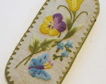 Vintage Eyeglass Case, Pretty Floral Glass Case, Stitched Butterfly Pansies Sunglass Readers Case Holder
