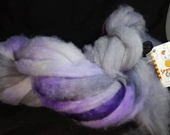 Alpaca cormo wool firestar roving hand dyed icy grapes grey purple white black